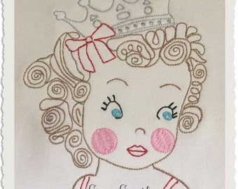 Sketched Beauty Queen - Vintage Stitched - Heirloom Stitched - Instant Download