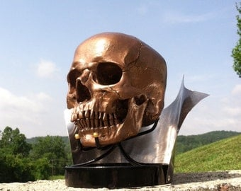 Replica Skull Resin Skull Human Skull Golden with stand display included