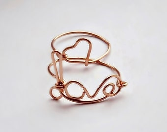 Love and Heart Solid Copper Stacking Rings