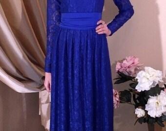 Royal Guipure Women's  Maxi Evening Dress Long Sleeves
