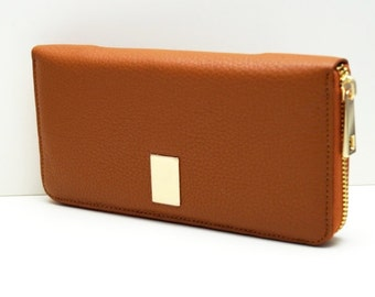 "Womens wallet ""Kira"" in brown, genuine leather, wallet, purse, portmonee, portemonnaie, handmade, new"