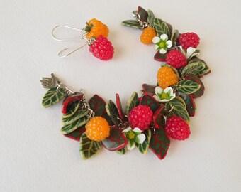 Raspberry set polymer clay jewelry berry jewelry bright jewelry gift for her raspberry bracelet Woodland style berry bracelet berry earrings