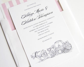 Disney Inspired Cinderella's Carriage Fairytale Wedding Invitations, Quinceanera  (Sold in Sets of 10 Invitations, RSVP Cards + Envelopes)