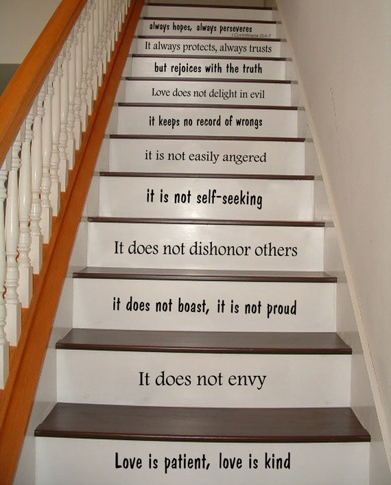 stair decals wall decals quotes love is by trendywalldecals. Black Bedroom Furniture Sets. Home Design Ideas
