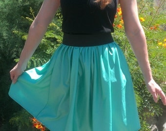 Teal Stretch Faux Leather Skirt