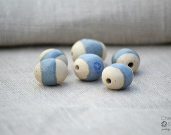Blue Speckled Pebble Beads