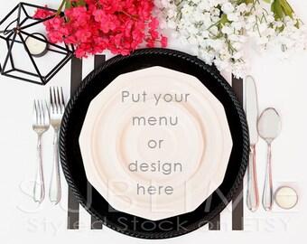 Styled Stock Photography / Plates / Mock up / Menu  / Wedding Menu / Place Setting / Table Stetting / JPEG Digital Image / StockStyle-488