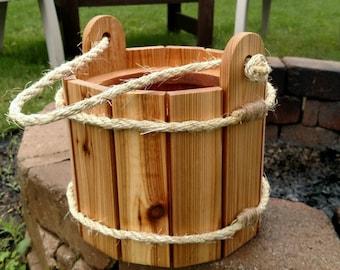 Cedar Planter Bucket with Rope Handle / Bucket Planter / Cedar Planter