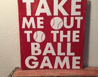 Baseball Sign, Take Me Out To The Ball Game, Team Sign, Sports Sign, Summer Sign, Sports Wall Decor, Baseball Wall Decor, Baseball Wall Art