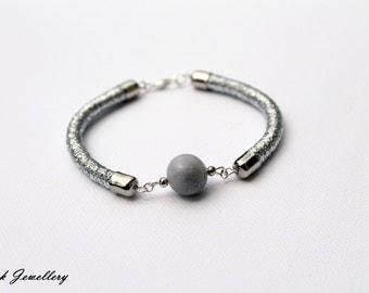 Silver bracelet / rope bracelet / polymer clay bracelet / handmade jewellery / stone / gift for her