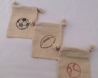 Sports Party Favor Bags: Baseball, Football and/ or Soccer Drawstring Sports Party Bags, Treat Bags