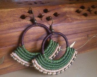 MACRAME earrings, boho, TRIBAL, hippie, bohemian, festival gypsy, micromacrame jewelry. Spiritual art, yoga jewelry. More colours. Green