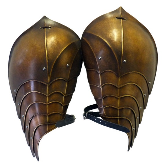 Larp Armour Elven Shoulders, pauldrons, spalder, spaulders, SCA, cosplay, armor