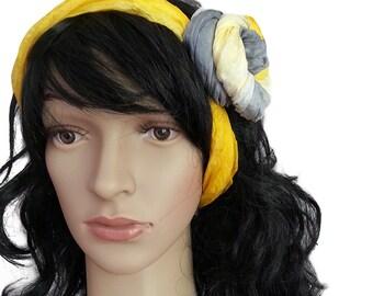 Silk Ruffled Scarf, silk scarf , Habotai silk scarf , silk scarves , accessories , gift for her , pure silk , hand dyed, yellow- gray shades