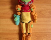 Samus and Baby Metroid amigurumi crochet doll