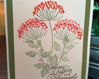 Red Flower Sympathy Card