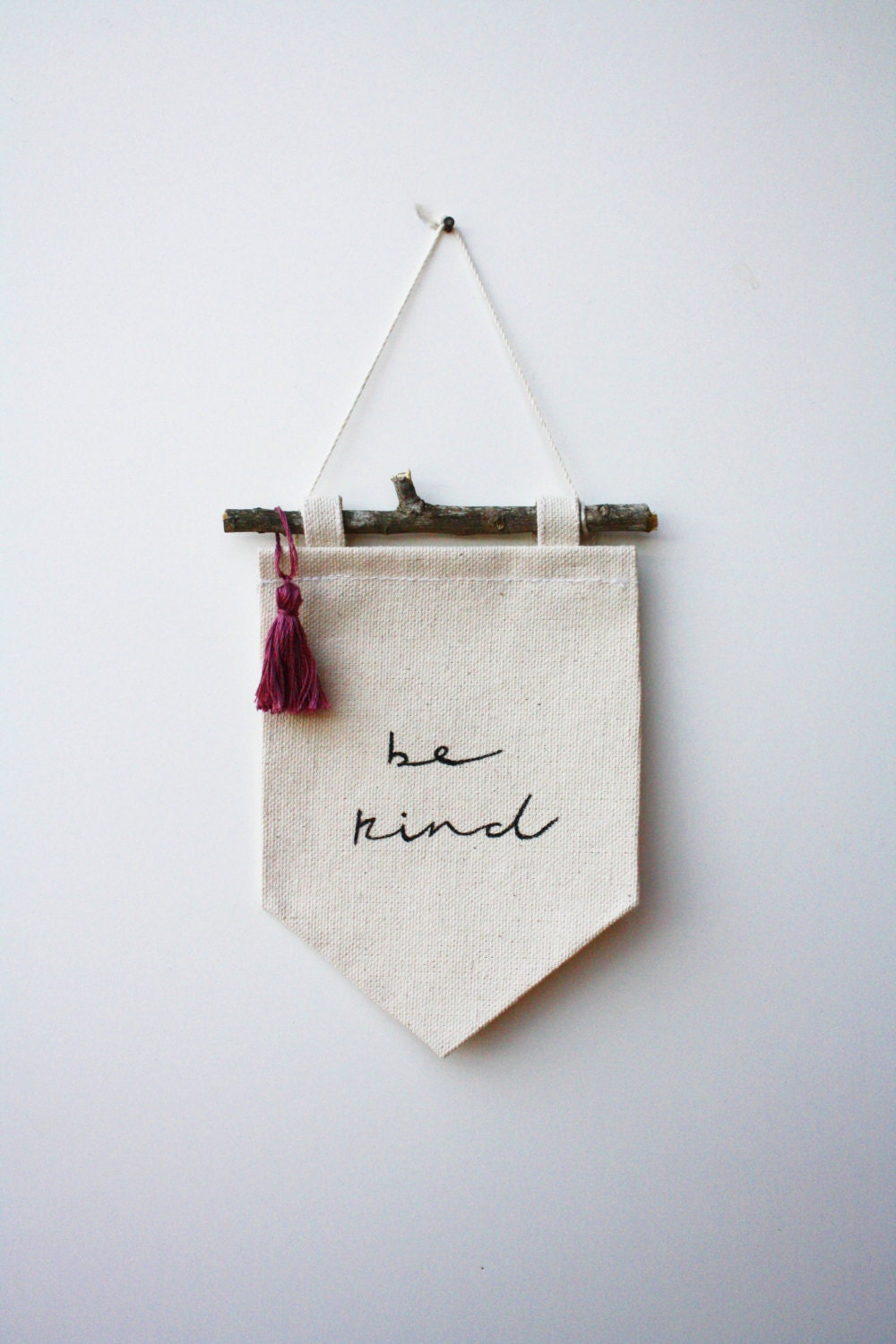 Mini banner be kind canvas banner wall banner by smallbranches - Cloth wall hanging designs ...