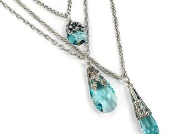 3 Strand Necklace, Prism Necklace, Aqua, Crystal, Octagon Necklace, Multi Strand Necklace, Crystal Necklace, Boho Necklace, Beach N1313