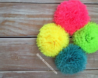"6 Shabby Neon Puff Flowers - Choose Your Color - 2 1/2"" Flower Head - Hair Accessory Supplies - DIY - Create Your Own Accessories"
