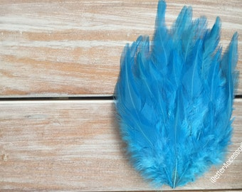 feather pad, feather pads, feather, feathers, blue feather pad, hair accessories, supplies, hackle feather pads