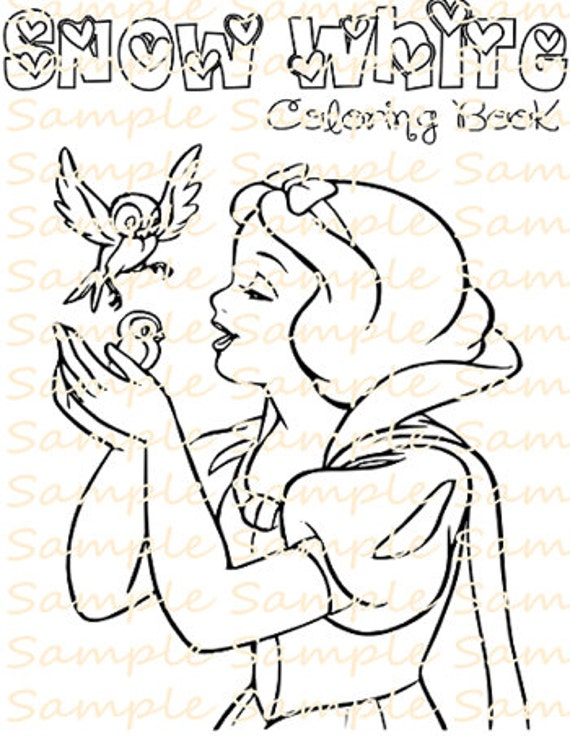 Snow White Party Favor Printable Coloring Book Pages Sheet Maleficent Colouring Birthday Supplies Printables Digital PDF