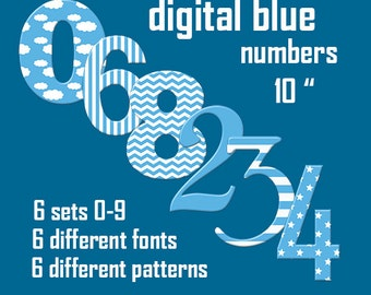 Blue numbers cliparts, baby boy blue numbers in 6 different fonts, with stars, clouds, stripes, chevron pattern; for commercial use