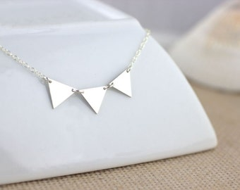 3 Triangle Necklace - Geometric Necklace, banner necklace, triangle banner necklace, triangle jewelry