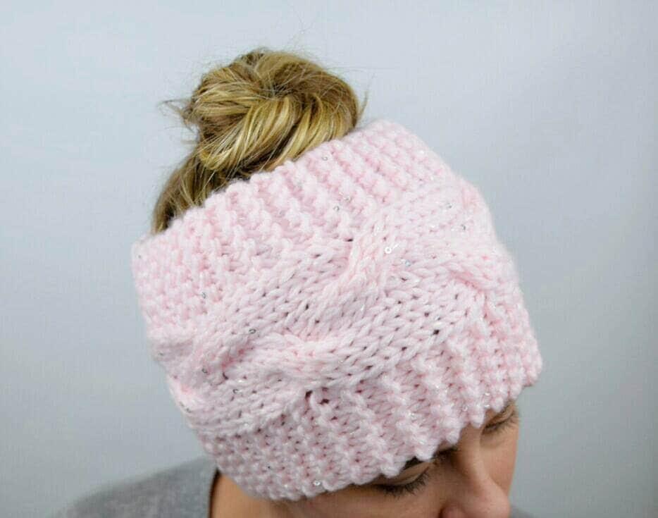 Knitted Headband Patterns Wide : Wide Headband Messy Bun Headband Knit Head Wrap Pink