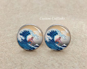 The great wave Surfing Cufflinks,  surf riding cufflinks,surf cufflinks, photo cuff links, sporting cufflinks,custom cufflinks,Father's Day