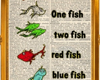 Dr. Suess one fish two fish red fish blue fish dictionary art on upcycled dictionary page 8x10