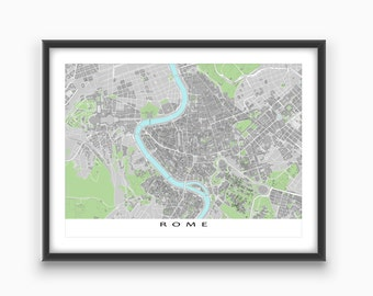 Rome Map Print, Rome Italy, Travel Art Print, Roma, Buildings