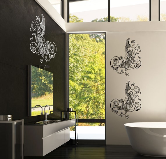Asian koi fish wall vinyl decal sticker item 0327 for Koi wall decal