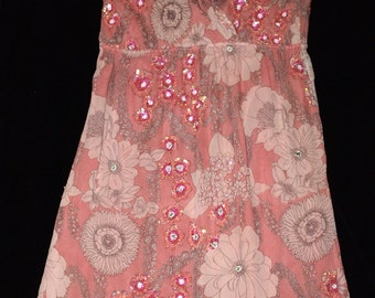 Vintage Hand Made Pink Silk Summer Dress With Sequins & Beads
