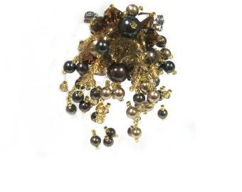 Swarovski Crystal and Pearl Brooch Pin