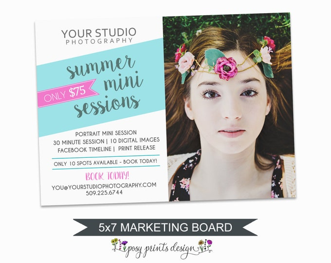 Summer Mini Session Marketing Board - Template for Photographers - Digital Photoshop Template - 5x7 Photography Design - SPS01