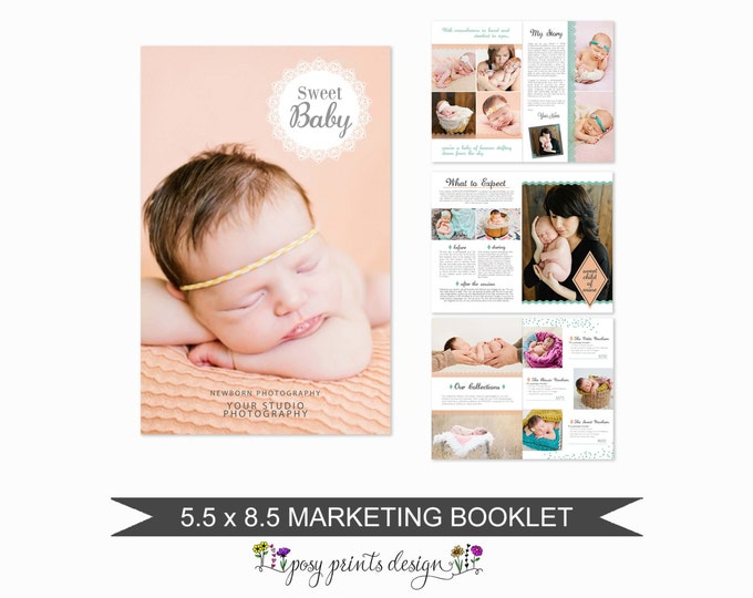 Newborn Magazine Template for Photographers - 8 Page Studio Welcome Guide - Digital Price List - Pricing Templates - WM03
