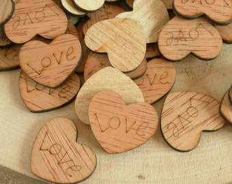 """100  """"Love"""" Hearts ~ 1"""" ~ Cute Little Wooden Hearts! Rustic Table Confetti, Wedding Table Scatter, Rustic Wedding Decor ~ Spring Wedding"""