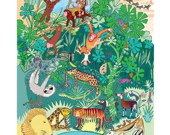 A4 Jungle Animals limited edition print