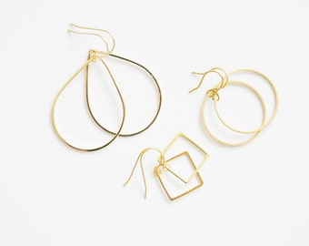 EARRINGS - shapes - 14 k * Yellow Gold