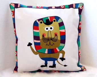 Bright Hand Painted Mr. Lion Cushion Cover With Button Border