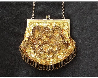 Vintage gold beaded purse, 1960s designer Mr Ernest hand beaded trim Simon handbag, gold sequin bag, gold seed beads, beaded evening bag