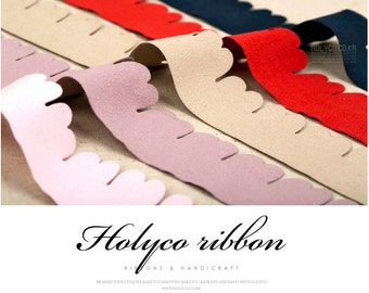 Suede Ribbon with Pinked Edge / 35~40mm  / 4Colors / made in korea