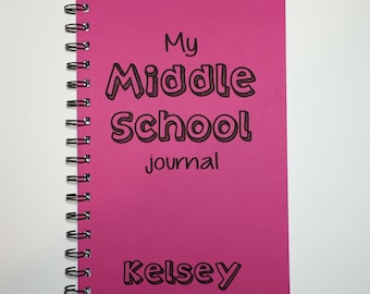Middle School Notebook, Middle School Journal, Notebook, Diary, Journal, Middle School, Back to School, Personalized, Sketchbook