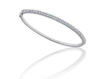 Prong Set Diamond Bangle Bracelet in 18k White Gold (1.80ct. tw.)