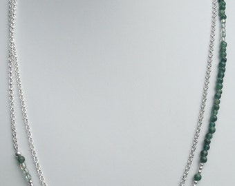 Green Aventurine and Sterling Silver Necklace