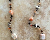 Marbled Stones Necklace, Stone Necklace with White and Orange Stones, Boho Jewelry, Bohemian Necklace, Wooden Beads, Rustic, Women Necklace
