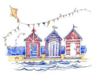 Beach Hut and Bunting Print, Beach Hut Watercolor Print, Seaside, Gift, Nursery, Vacation