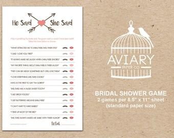 Bridal Shower Game   He Said She Said Game