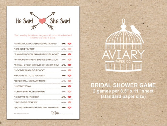 he said she said bridal shower game template - bridal shower game he said she said game