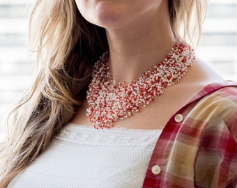 Red white seed bead necklace illusion floating necklace volume seed bead jewelry airy necklace multilayer invisible necklace multistrand